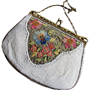 Petite Beaded Evening Bag With Beautiful Crewel Work Floral For Bridal