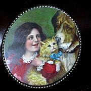 Victorian Chromolithograph Flue Cover Germany  Darling Girl St. Bernard Cat