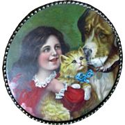 Victorian Chromolithograph Flue Cover Germany  Darling Girl St. Bernard Cat