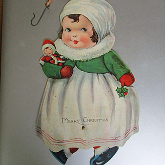Deco Mechanical Christmas Card Little Girl With Her Santa Doll