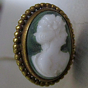 Green Jasper Carved Cameo Gold Filled Hat Pin