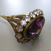 Gorgeous Amethyst Gilt Art Nouveau Hat Pin With Victorian Floral Gift Box