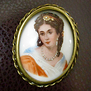 Exceptional Limoges Hand Painted Portrait Brooch Velvet Back