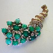 1940's Reja Inc. Green Art Glass Cornucopia Brooch