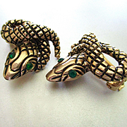 50's Snake Earrings Emerald Green Eyes