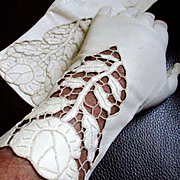 1950's White Leather Kid Gloves Roses Cutouts Made In France Aris Of Paris, Bridal