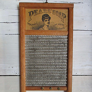 Antique Child's Or Doll Salesman Sample Washboard Pear's Advertising