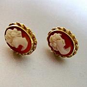 14K Carnelian Cameo Stud Earrings