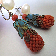 Art Deco Dark Coral Enamel Pineapple Pearl Earrings