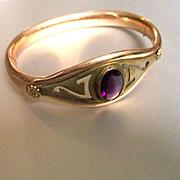 Edwardian GF Amethyst Glass Bangle SO Bigney Co. Dated 1908