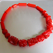Fabulous RARE Cherry Red Deeply Carved Bakelite Choker Necklace