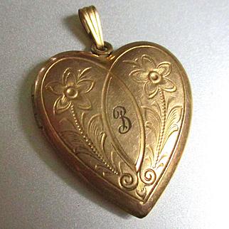 "Deco Era Puffy Heart 12K GF Initial ""B"""