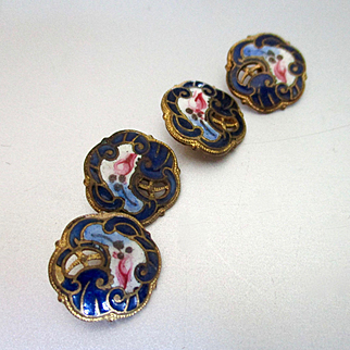 Exquisite Victorian Enameled Pierced Gilt Buttons For Doll Dress