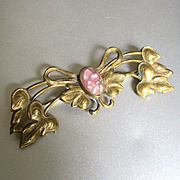 Art Nouveau Gilt Pink Art Glass Brooch