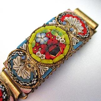 Superlative Old Mosaic Millefiore Link Bracelet Lime Green