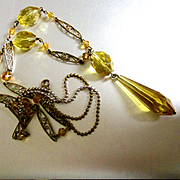 Citrine Amber Glass Beads Sautoire