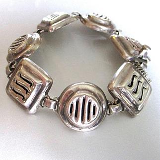 Vintage Sterling Link Modernist Bracelet Mexico