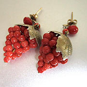 Vintage Red Coral Vermeil Sterling Grapes Leaves Drop Earrings
