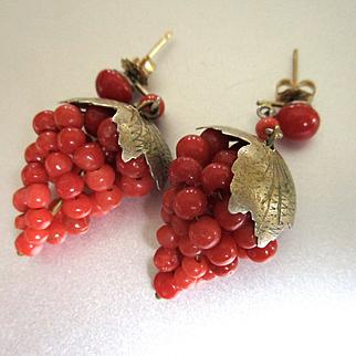Vintage Red Coral Vermeil Sterling Grapes Leaves Drop Earrings