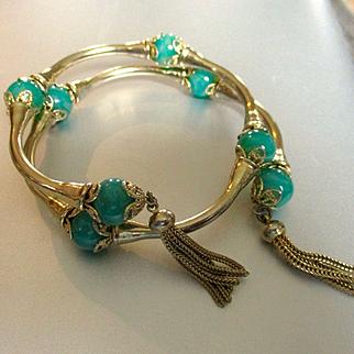 Great 60's Wrap Around Gold Tone Coil Bracelet Green Marbleized Glass Balls Tassels