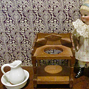 Vintage Wood Dollhouse Wash Stand