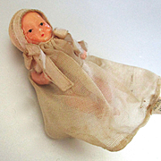 Vintage Tiny Ceramic Jointed Baby Doll In Original Gown Peaked Bonnet Japan