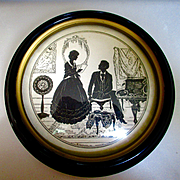 "Vintage 1930's Black Silhouette ""Just A Song At Twlight"" by Vitalie Z Terletzky Domed Glass"