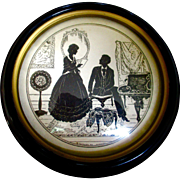 """Vintage 1930's Black Silhouette """"Just A Song At Twlight"""" by Vitalie Z Terletzky Domed Glass"""