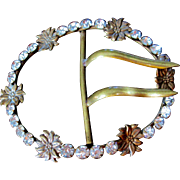 Huge Victorian Crystal Brass Floral Belt Buckle