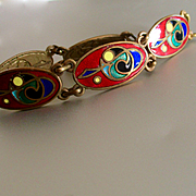 Beautiful Very Colorful Art Deco Enamel on Brass Link Bracelet
