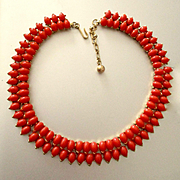 Egyptian Revival Coral Glass Double Row Crown Trifari Necklace Great Color!