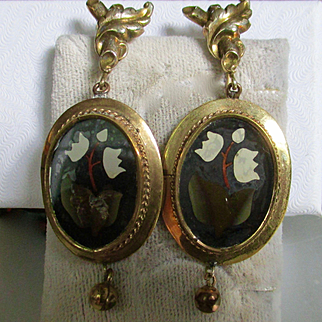 Victorian Pietra Dura Large Dangle Earrings GF and 14K