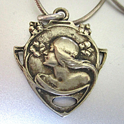 Beautiful Art Nouveau Pendant Woman's Face in Urn Signed Chain Included