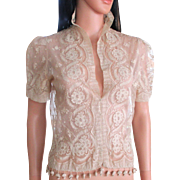 Exquisite Edwardian Tambour Brussels Pricess Lace Jacket Tassels