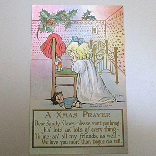 Little Girl With Santa Doll and Other Doll Praying Signed M G Hays