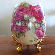 Exquisitely Painted Roses Limoges Footed Vase Signed