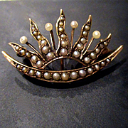 Victorian 12K Seed Pearl Watch Pin Brooch Tiara Shape