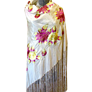 Spectacular Art Deco Piano Silk Shawl Great Colors Pink Yellow Large Roses