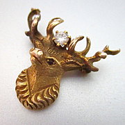 Edwardian 14K Reindeer Stag Diamond Lapel Pin