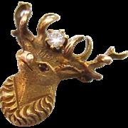 Edwardian 14K Reindeer Stag Diamond Lapel Pin