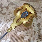 Art Nouveau GF Blue Stones Monogrammed
