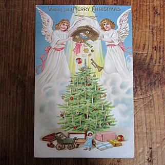 German Victorian Christmas Card Dolls Angels