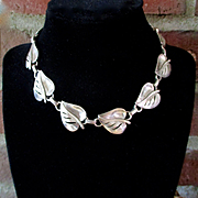 Mid Century Sterling Linked Leaf Necklace