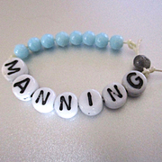 "Vintage Milk Glass Beads Hospital Baby Bracelet ""Manning"""