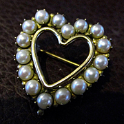 Vintage Winard 12KGF Cultured Pearl Heart Brooch