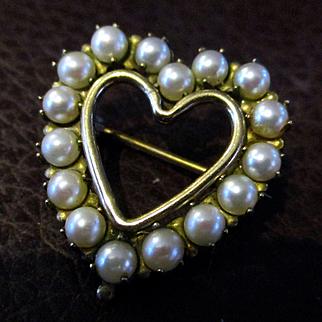 Vintage Winard 12KGF Cultured Pearl Heart Brooch