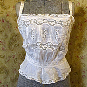 Frilly Victorian Camisole Tucks Lace Ribbons Peplum