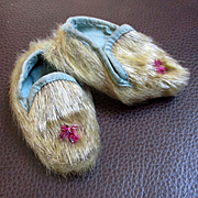 Old Otter Fur Baby Booties Muslin Lined For Doll