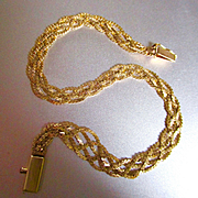 14K Delicate Braided Bracelet Nice For Charms