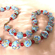 Venetian Wedding Cake Robin's Egg Blue Beads Red Crystals